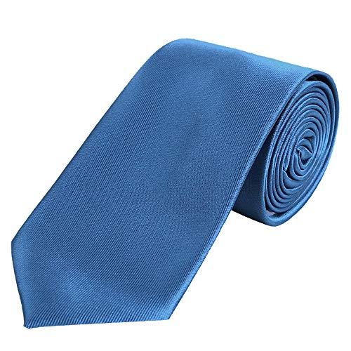 DonDon Herren Krawatte 7 cm klassische handgefertigte Business Krawatte Blau für Büro oder festliche Veranstaltungen