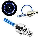 Haichen - 2 tapones de válvula de neumático con un led de neón activado por movimiento para rueda de seguridad para bicicleta, coche, motocicleta, azul