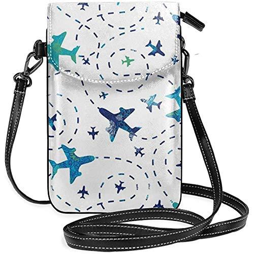 Leuk Vliegtuigen Op Witte Hemel Lederen Telefoon portemonnee Houder Portemonnee Functionele Multi Pocket