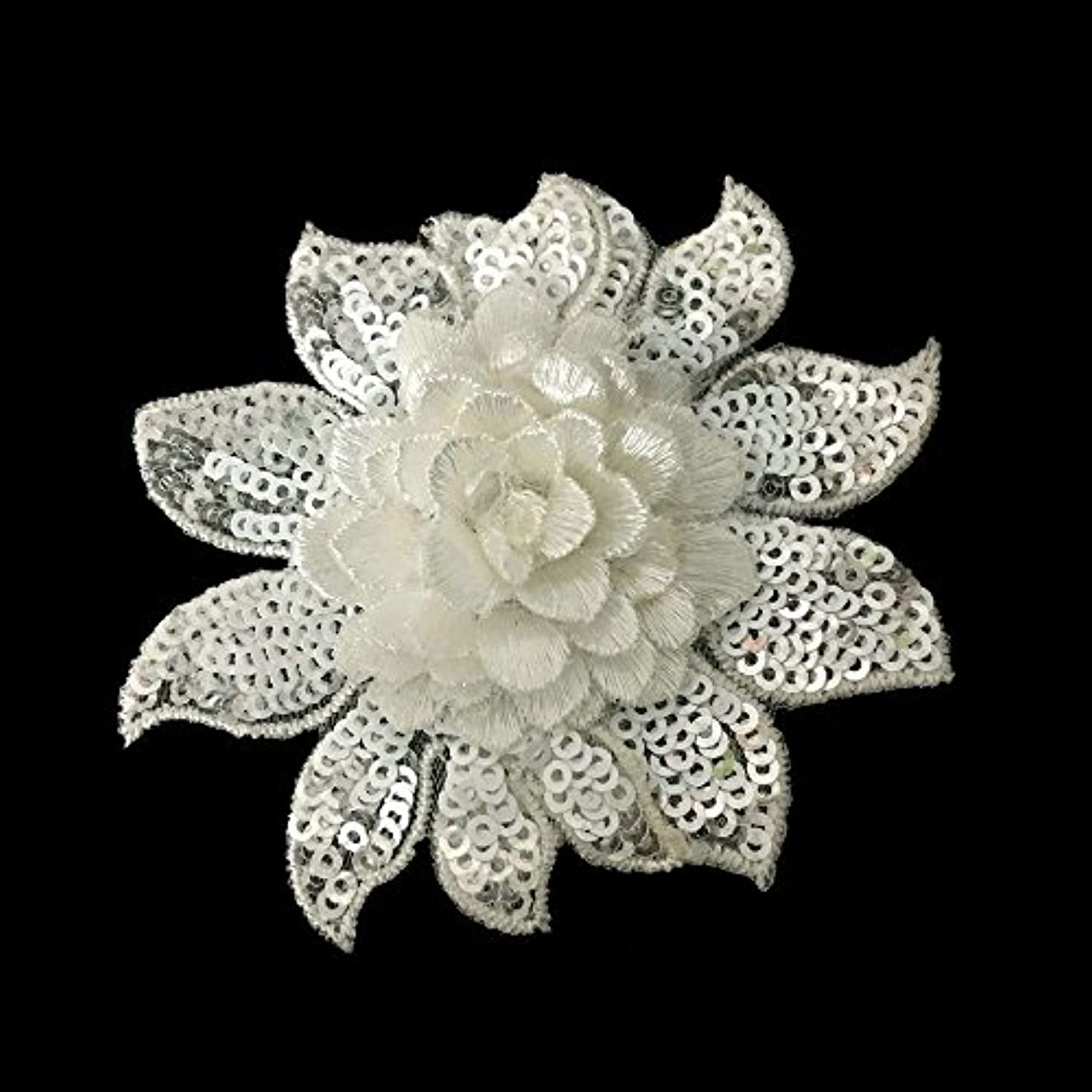 1pcs White Sequin Embroiery Flower Sew On Patches Arts Crafts Applique 3.2inch