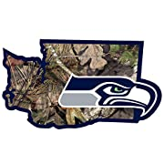 Officially licensed NFL product Popular home state style State outline in team colors filled in with Mossy Oak camouflage Easy to position vinyl Perfect way to show off your home andSeattle Seahawks pride