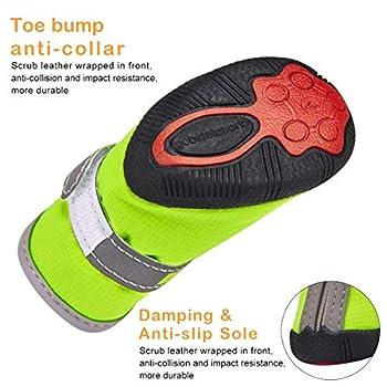 Chaussures pour Petits Chiens Imperméables Lot de 4, Bottes de Protection pour Chien Protecteur de Patte Antidérapante Réfléchissante Chaussures Chaudes pour Chiot Petits Moyens Chiens Vert 5#