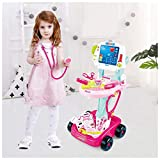 Kids Doctor Toy Set Doctor Roleplay Toy Cultivate Professional Interest Doctor Roleplay Props with Electric Simulation Medical Trolley Analog Scanner X-ray Screen 3-12 Years Old Child