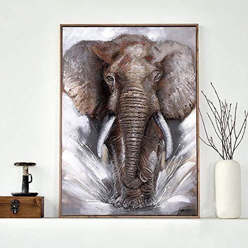 PGMZQHGF Arte de la Pared de Elefante Gris Cuadros en Lienzo Carteles decoración del hogar Animales Modernos Elefantes decoración Impresa   60x80cm sin Marco