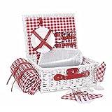 Cesta de mimbre para 2 personas | Cesta de picnic de sauce con manta impermeable, compartimento aislado y juego de vajilla