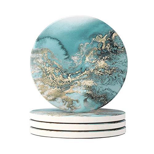 HAOCOO 4 Stück Runden Getränk Untersetzer - Saugfähiger Stein Untersetzer Set mit Korkboden und Keramik Stein, Dekorativ Untersetzer für Arten von Bechern und Tassen - Blau Marmor