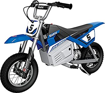Razor MX350 Dirt Rocket Electric Motocross Off-road Bike for Age 13+ Up to 30 Minutes Continuous Ride Time 12  Air-filled Tires Hand-operated Rear Brake Twist Grip Throttle Chain-driven Motor