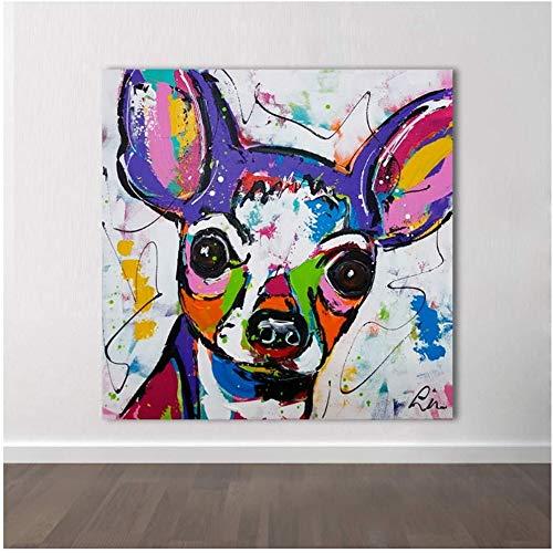 """Surfilter Print auf Leinwand Moderne abstrakte Tier Leinwand Kunst Chihuahua Hund Pop Art Wandbilder für Wohnzimmer Home Decor Gemälde 31.4"""" x 31.4"""" (80x80cm) Kein Rahmen"""