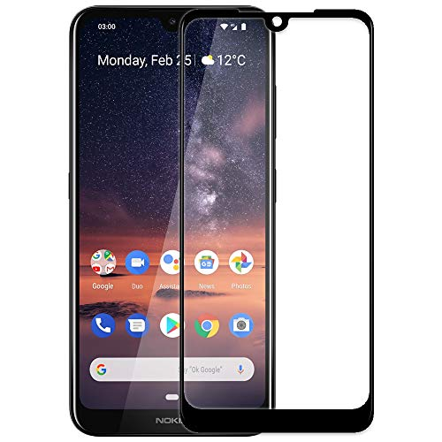 Genron Screen Protector Tempered Glass for Nokia 3.2 Mobile Phone - Black (Full Glue, Edge to Edge Screen Coverage, 9H Toughen Protection, Ultra Clear, 11D Curved Edges)