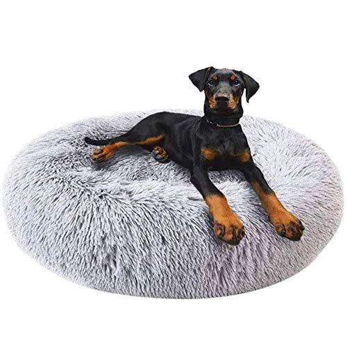 Round Deluxe Haustierbett für Hunde und Katzen, mit Reißverschluss, leicht zu entfernen und zu waschen, Kissen für Katzen/Hunde, 60 cm-120 cm / 5 Größen, Kunststoff, grau, 90 cm