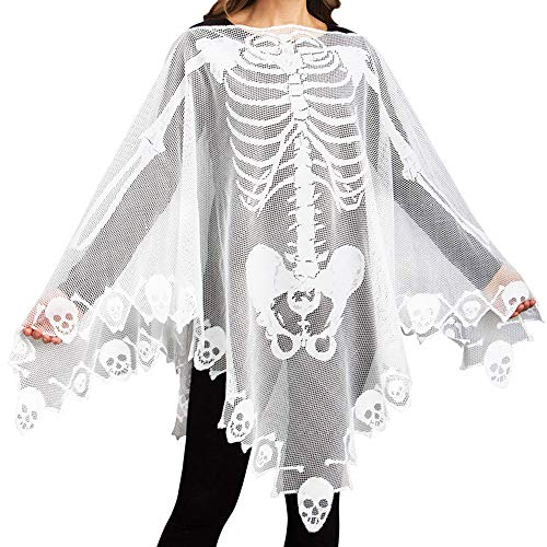 Jolik Lace Skeleton Poncho for Women Halloween Skeleton Costume 60 x 60-inch, White