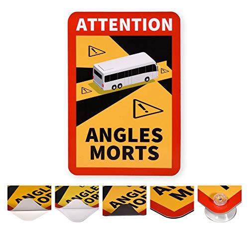 reflecto Hinweisschild 'Angles Morts' | 5 Anbringungsarten | LKW oder Bus-Motiv | entspricht RAL-Farbvorgaben | 250 x 170 mm | Aufkleber, magnetisch | Wohnmobil Wohnwagen (Bus-Motiv, mit Saugnäpfen)