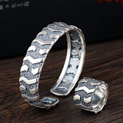 THTHT S925 Mesdames Vintage Bracelet Argent Bague Fendue Pneu Créatif Cadeau De À Sculpter La...