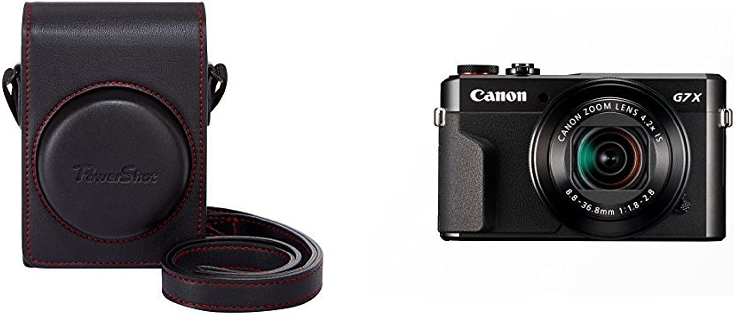 Canon DCC-1880 - Funda para cámara Canon Powershot G7X MK II negro + Canon PowerShot G7 X Mark II - Cámara digital compacta de 20.1 MP (pantalla de 3 apertura f/1.8-2.8 zoom óptico de 4.2x video full HD WiFi) color negro