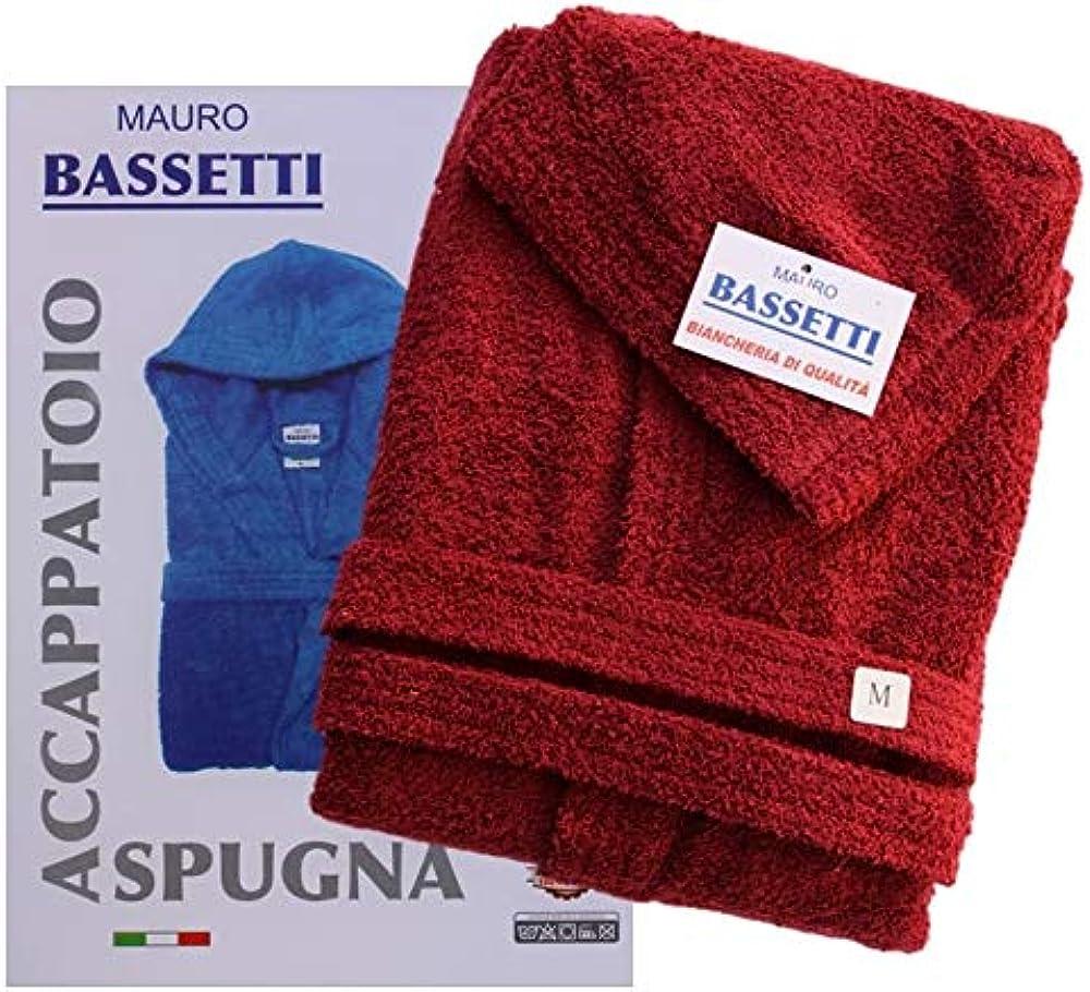 Viterbo biancheria, accappatoio bassetti in telospugna, 100% cotone, con cappuccio, unisex, rosso