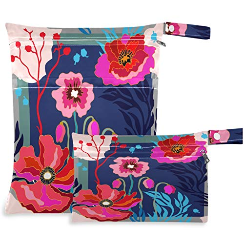 visesunny Cute Flower 2Pcs Wet Bag with Zippered Pockets Washable Reusable Roomy for Travel,Beach,Pool,Daycare,Stroller,Diapers,Dirty Gym Clothes, Wet Swimsuits, Toiletries