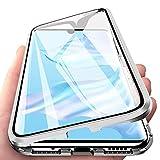Caler Funda Compatible para iPhone 6/6s Carcasa Magnética Cubierta de 360 Grados Delantera y Trasera de Transparente Vidrio Templado Marco de Metal Protección Flip Case Cover(Plata Plateado)