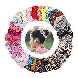 KATELUO 36 Stück Scrunchies Haargummis Elastische Haargummis Blume Bunt Haarbänder Mädchen Pferdeschwanz Haarband für Frauen Mädchen Haarschmuck (36 Stück)