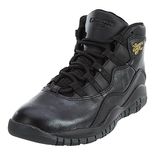 Nike Jordan Kids Jordan 10 Retro Bp Black/Black/Drk Grey/Mtllc Gld Basketball Shoe 12 Kids US