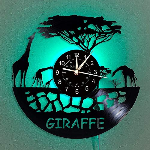 BFMBCHDJ Vintage African Giraffe LED Wall Clock Giraffe Vinyl Record Wall Clock Creative Home Decor Easter Birthday Gift for Friends No LED 12 Inches