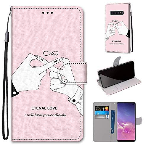 Miagon Flip PU Leder Schutzhülle für Samsung Galaxy S10e,Bunt Muster Hülle Brieftasche Case Cover Ständer mit Kartenfächer Trageschlaufe,Finger Liebe