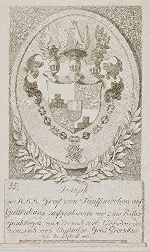 H. W. Fichter Kunsthandel: Wappen, Georgsorden-Carl Ioseph GRAF Taufkirch zu Guttenburg, 1811, Punktierst.