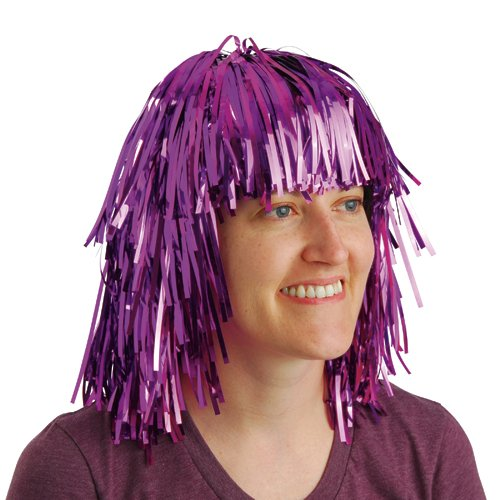 Buy Discount DollarItemDirect Purple Tinsel FOIL Party Wig , Sold by 31 Pieces