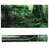 Soapow Caja de reptiles de PVC con diseño de bosque tropical, decoración de pintura de pared de tanque de peces, pegatina autoadhesiva (91 x 50 cm)