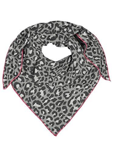 Zwillingsherz Dreieckstuch aus Baumwolle - Hochwertiger Schal mit Leo Design für Damen Jungen Mädchen - Uni - XXL Hals-Tuch und Damenschal - Strick-Waren - für Herbst Frühjahr Sommer grau/pink