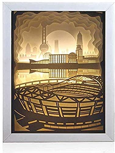 Cajas de luz Papercut, caja de sombras Lámpara de noche de luz LED, lámpara de tallado de papel 3D, luz de humor decorativa, dormitorio de la habitación para niños (perla oriental)