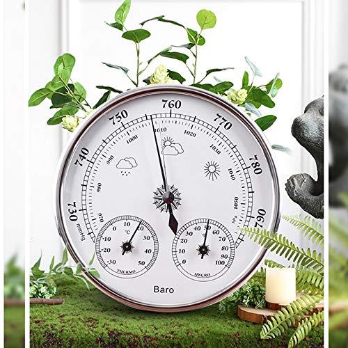 Termómetro de barómetro doméstico 3 en 1, higrómetro, detector de temperatura y humedad para colgar, probador de clima ambiental para interiores y exteriores (no requiere batería)