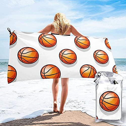 Toalla de baño para Deportes de Baloncesto, Toalla de Playa, Uso Multiusos para Deportes, Viajes, súper Absorbente, Microfibra de Secado rápido Suave, Ligero, Blanco, 31.5 'x63