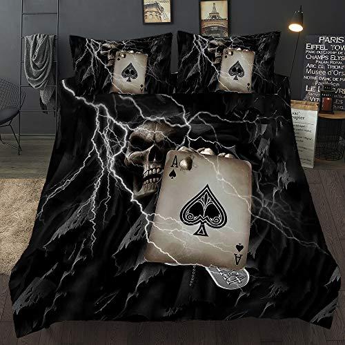 Loussiesd Poker Schädel 3D Print Betten Set Schwarz Blitz Skull Bettwäsche Set Microfaser Modern Gothic Bettbezug mit 1 Kissenbezug 2 teilig 135x200 cm + 80x80 cm Jungen Mädchen Kinder