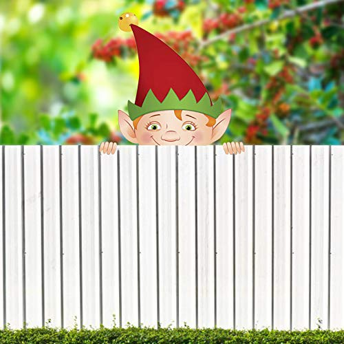 Lroxiy Personalized Christmas Decorations Outdoor Fence Peeker Stealing - 2020 Best Christma Holiday Deer Santa Claus Gnome Snowman Outside Decor for Lawn Garden Yard Patio (Gnomes)
