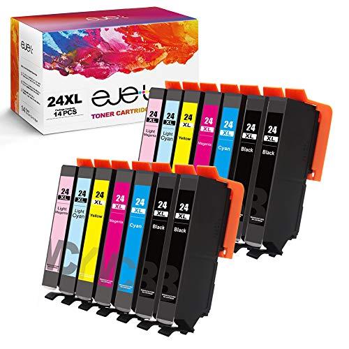 ejet 24XL kompatible für Epson 24 24XL Tintenpatrone für Epson Expression Home XP-750 XP-760 XP-850 XP-860 XP-950 XP-960 XP-55(4 Schwarz,2 Cyan,2 Magenta,2 Gelb,2 Helles Cyan,2 Helles Magenta,14-Pack)