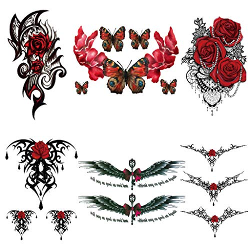 CARGEN 6 Sheets Rose Temporary Tattoo for Women Waterproof Fake Tattoos Sexy Cover Up Makeup Body Sticker Waterproof for Legs Thighs Chest Hip