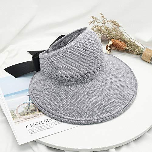 Xiaojie Sombreros de verano para mujer, de ala grande, clásico, de paja, sombrero de paja casual, al aire libre, gorra de playa para mujer con protección UV (color: estilo 1 gris, tamaño: talla única)