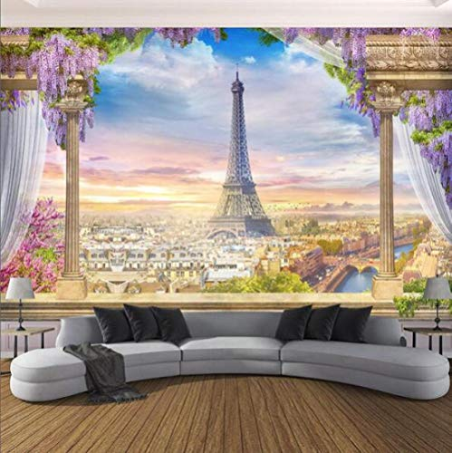 XLXBH 3D muurschildering zelf-hechtend behang fotobehang 3D driedimensionale Romeinse zuil Parijs toren muurschildering eetkamer woonkamer slaapkamer achtergrond wanddecoratie 3D, kinderkamer kantoor eetkamer 250x175 cm (BxH) 5 Streifen - selbstklebend