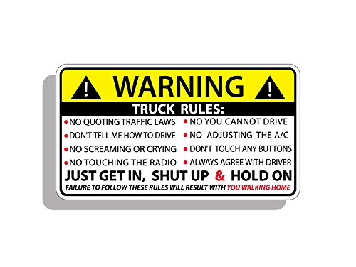 Funny Truck Safety Warning Rules Sticker Adhesive Vinyl Window Graphic Bumper