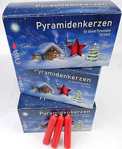 Ebersbacher Kerzen Sparpack 150 Pyramidenkerzen rot 14x74mm (PK 50/500) (3 x 50 Stück) Vorteilspackung