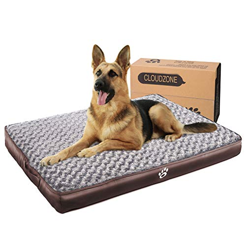 CLOUDZONE Orthopedic Dog Bed with 2-Removable Zipper Covers | Machine Washable Dog Bed Egg-Crate Foam Plush Crate Pad | Pet Bed with Durable PU Leather and Non-Slip Bottom (XXXL) Brown Beds