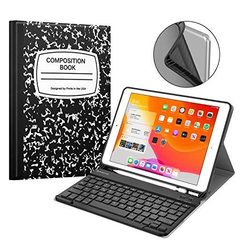 Fintie Tastatur Hülle für iPad 10.2 Zoll 7. Generation 2019, Soft TPU Rückseite Gehäuse Schutzhülle mit Pencil Halter, magnetisch Abnehmbarer Bluetooth Tastatur mit QWERTZ Layout, Notizblock Schwarz