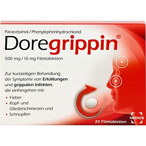 Doregrippin – Die schnelle 3-fach-Hilfe bei Erkältungsschmerzen, Fieber & verstopfter Nase – 20 Filmtabletten
