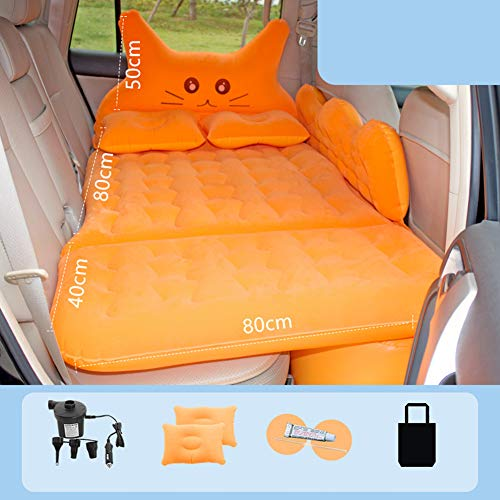 AKDSteel Car Inflatable Travel Air Mattress Bed Back Seat Sleep Pad Premium Portable Car Mattress Universal For Car (Double guard) Flocking orange Practical Durable Auto Accessory