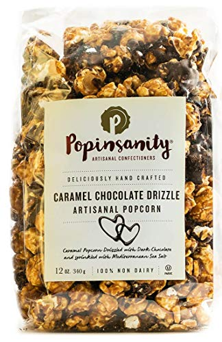 Caramel Chocolate Drizzle Gourmet Popcorn Deluxe Bag | Non-GMO, Kosher & Dairy Free - Holiday, Thanksgiving, Corporate, Snacks, Office Snacks, Get Well or Birthday Gift 12 Ounce Bag POPINSANITY