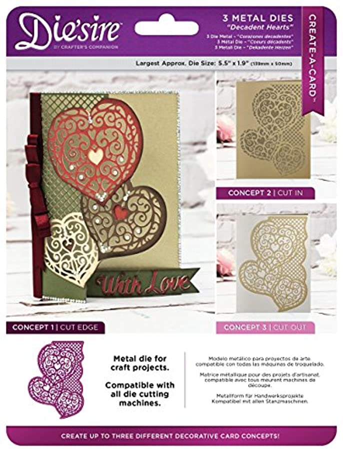 Die'sire DS-CAD-DEHE Create-a-Card Cut on Edge Dies-Decadent Hearts Metal Die, 17.4 x 22.5 x 0.02 cm, Silver