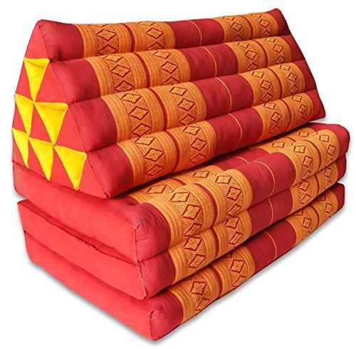 Colchón tailandés 3pliegues, con cojín triángulo, sofá, playa, piscina, jardín, fabricado en Tailandia, rojo/naranja (81018)