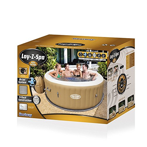 Lay-Z-Spa Palm Springs Hot Tub, 120 AirJet Massage System Inflatable Spa with Rapid Heating, 4-6 Person