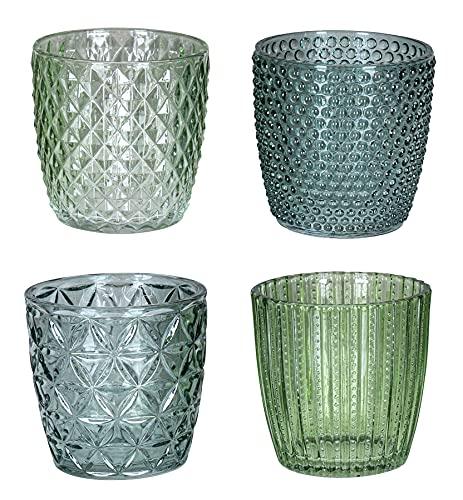 levandeo 4er Set Windlicht H7,5cm Glas Grün Teelichthalter Kerzen Retro Kerze Kerzenhalter Tischdeko Deko