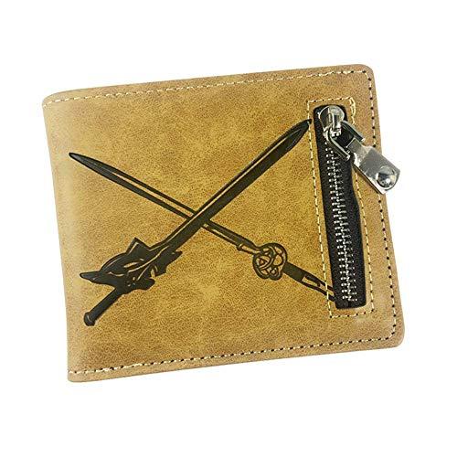 Sword Art Online SAO Anime Cartoon Men Women Boys Girls Short Leather Bi Fold Wallet Purse Money Holder Gifts (2)